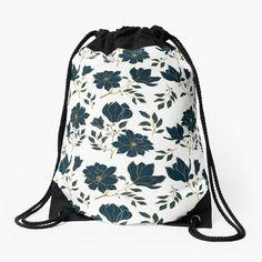 Backpack Bags, Drawstring Backpack, Custom Bags, Flower Prints, Blue Flowers, Woven Fabric, Floral Design, Backpacks