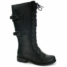Wild Diva Timberly-88 Knee-High Combat Boot Military Lace-up Style $33.49 - Shoetopia.com