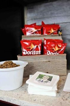 All Star Graduation Party Ideas - Taco Bar with personalized napkins by olga