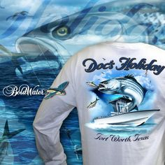 "Custom shirt design created for our client ""Doc's Holiday"" to match his new BoldWater boat graphics. http://www.boldwater.com/our-services/custom-apparel-and-t-shirts"