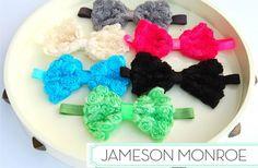 So cute!!!   GroopDealz | Chiffon Rosette Bow Headbands - 6 colors