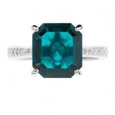 Diamonique Anello solitario pari a 0.15ct in argento 925 con smeraldo sintetico