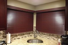 Budget Blinds of Smithtown - Chestnut color faux wood blinds installed in the kitchen of this Kings Park, NY home. Home Renovation, Home Remodeling, Blinds Inspiration, Budget Blinds, Custom Blinds, Faux Wood Blinds, Kings Park, Local Hardware Store, Mini Blinds