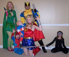 Harris Sisters GirlTalk: Superheros and Villains Group Family Costume - Spiderman, Captain America, Wonder Woman, Wolverine, Poison Ivy, Catwoman