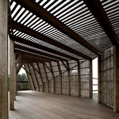 Something like this would make a cool party barn khachaturian architects construct slatted wood summer house Architecture Durable, Timber Architecture, Contemporary Architecture, Architecture Details, Bamboo Structure, Timber Structure, Shade Structure, Building Design, Bungalow