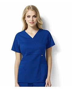 2d14f3449b7 WonderWink Womens Plus Size Next Elizabeth Mock Wrap Scrub Top Royal 3XLarge     Find out