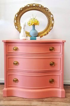 Looking to update your decor? Discover the wonders of Fusion Mineral Paint! This stunning dresser was painted in Fusion's Coral. This piece is the perfect pop of color for any room! - March 09 2019 at Coral Painted Furniture, Refurbished Furniture, Farmhouse Furniture, Paint Furniture, Repurposed Furniture, Rustic Furniture, Furniture Makeover, Modern Furniture, Furniture Movers