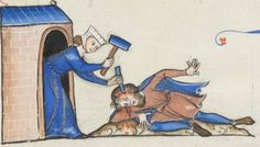 end of the 13th century France Lausanne, Bibliothèque Cantonale et Universitaire U 964 - Biblia Porta fol. 76v - Jael murdering Sisera http://www.e-codices.unifr.ch/en/list/one/bcul/U0964