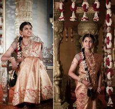 South indian bride wearing traditional bridal saree, jewellery n hairstyle