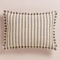 One of my favorite discoveries at WorldMarket.com: Striped Frayed Edge Lumbar Pillow