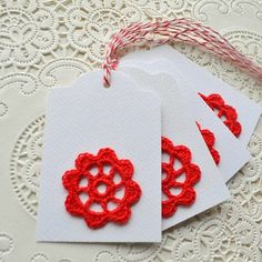Red Crochet Gift Tags