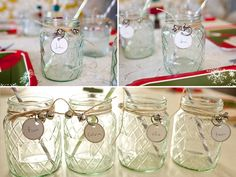 Mason jars with bells for Christmas parties