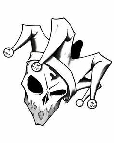 Scary Drawings, Dark Art Drawings, Pencil Art Drawings, Art Drawings Sketches, Tattoo Drawings, Jester Tattoo, Clown Tattoo, Graffiti Art, Graffiti Drawing