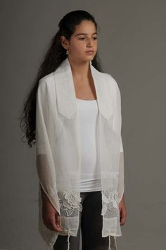 Israel Tallit Women's White Lace Ribbon/Jewish Prayer Shawl T-0375A