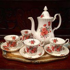 """Royal Albert England """"Centennial Rose"""" Coffee for 4."""