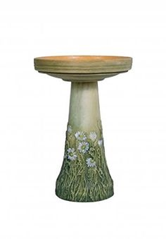 Bird's Choice Burley Flowering Daisy Clay Bird Bath, Medi...