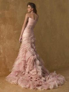 romantic pink wedding dress