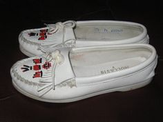 MOCASSINS white leather 80s THUNDERBIRD by Linsvintageboutique, $29.50