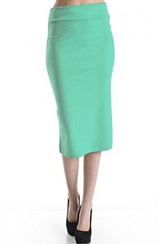 8aeb31f28fdc5 Azule Women s Below the Knee Pencil Skirt for Office Wear - Made in USA  Mint Large