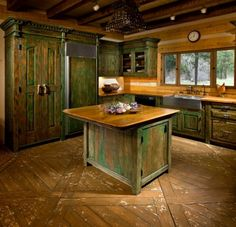 Unique kitchen island constructed from antique Mexican bar and reclaimed Douglas fir. Description from pinterest.com. I searched for this on bing.com/images