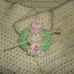 Romantic Shabby Chic Cottage Rose handmade shawl pin buckle by CreatingCottage #handmade #CreatingCottage #Roses #CottageStyle #Cottage #ShabbyChic #Shabby #Chic #polymerclay #white #pink #romantic