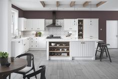 Pembrook grooved replacement kitchen doors finished in Serica white grey Farm Sink Kitchen, Kitchen Cabinet Design, Kitchen Cabinets, Replacement Kitchen Doors, Kitchen Styling, Custom Design, It Is Finished, Traditional Kitchens, Table