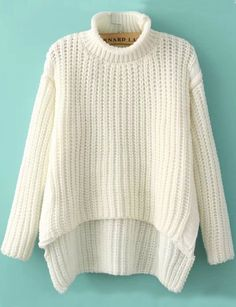 White High Neck Dipped Hem Loose sweater 25.00