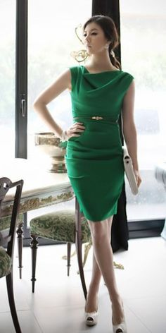 Classy Beauty. Emerald Green Cowl Neck Shift Dress. Work Or Cocktail | GlamUp - Clothing on ArtFire