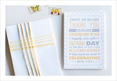 Poster Style Wedding Thank You Card