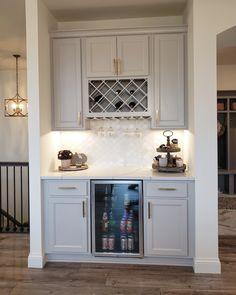 Wine bar off the kitchen 🍷🍷 Kitchen Wet Bar, Kitchen Bar Design, Kitchen Desks, Wine Bar Cabinet, Home Wet Bar, Space Saving Kitchen, Wine Fridge, Dining Room Bar, Coffee Nook