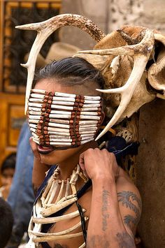 Mexican masked dancer: Great example of how a headdress can be much more than a dead thing on your head.