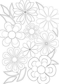 Applique or a colouring page Wool Applique, Applique Patterns, Applique Quilts, Hand Embroidery Designs, Embroidery Stitches, Paper Napkins For Decoupage, Flower Doodles, Floral Illustrations, Colouring Pages