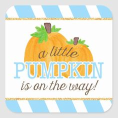 Modern little pumpkin boy baby shower stickers. Featuring diagonal blue and white stripes, faux gold glitter border and orange watercolor pumpkins. Size: inch (sheet of Color: blue/gold.
