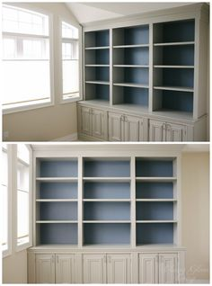 Grey and Blue combination   DIY Built-in Office Cabinet   Classy Glam Living