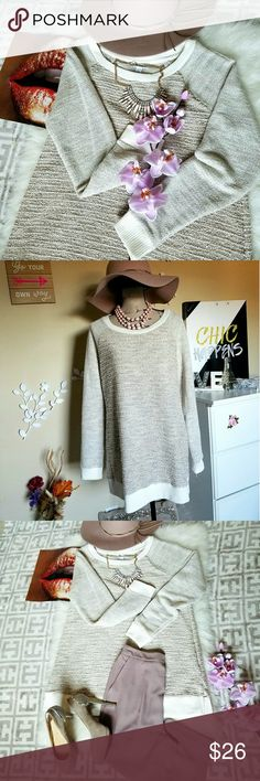 """🆕💖Beautiful Two-Toned Sweater💖🌹 This is a maternity sweater that works great as an oversized sweater.  Features lovely neutral tones with hints of gold throughout, and a wonderful texture front & back.  Cream ribbed fabric at end of arms, neck, and bottom of sweater.  Small slit on both sides.  A size XL.  Pit to pit is 18"""" Length is 32"""" 65% Polyester  33% Cotton  2% Other Fiber Machine Washable Liz Lange for Target Sweaters"""
