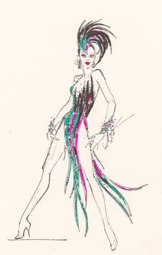"Bob Mackie showgirl costume design drawing. Jeweled teal, pink, and black vertical striped dress with matching feather headdress and cuffs. Part of UNLV Libraries ""Showgirls"" digital collections."