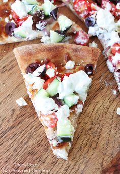 Easy Greek Pizza Recipe on twopeasandtheirpod.com