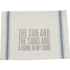 Tidy up spills in the kitchen with this lovely towel, featuring a typographic design and natural hue.  Product: Kitchen towel