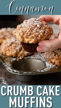 Crumb Cake Muffins Tender sour cream coffee cake, ribboned with cinnamon and topped with a crumbly streusel topping. These crumb cake muffins are a great way to start the day! Easy Desserts, Delicious Desserts, Dessert Recipes, Yummy Food, Cupcake Recipes, Gluten Free Baking Recipes, Passover Desserts, Baked Donut Recipes, Easy Sweets