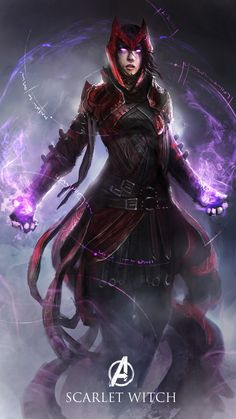 Scarlet Witch by theDURRRRIAN female superhero villian magic spell necromancer wizard warlock sorcerer sorceress witch armor clothes clothing fashion player character npc | Create your own roleplaying game material w/ RPG Bard: www.rpgbard.com | Writing inspiration for Dungeons and Dragons DND D&D Pathfinder PFRPG Warhammer 40k Star Wars Shadowrun Call of Cthulhu Lord of the Rings LoTR + d20 fantasy science fiction scifi horror design | Not Trusty Sword art: click artwork for source