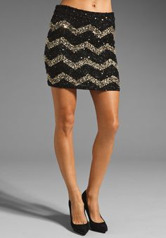 Alice   Olivia Leigh Sequined High Waisted Skirt in Black