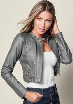 3d9ba038e3ee1b Amp up the edge with our Faux Leather Lace Up Jacket. Venus Clothing,  Jeggings