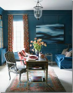 "From Elle Decor. Peacock blue walls. Story reported decision, ""...painting over mahogany paneling"". A lesson in design that tradition is great, except when change is for the better."