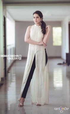 Telugu Model Rashi Khanna Photo Shoot In White Sleeveless Dress - Tollywood Stars Indian Fashion Dresses, Dress Indian Style, Indian Designer Outfits, Indian Outfits, Designer Dresses, Fashion Outfits, Designer Kurtis, Kurta Designs Women, Kurti Designs Party Wear