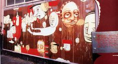 Site-specific mural by Barry McGee, photograph by David M. Barry Mcgee, Street Smart, Inspiring Things, Figure Painting, Urban Art, Illustration Art, Illustrations, Surrealism, Art Boards