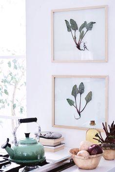simple wood framed art prints in modern kitchen. / sfgirlbybay