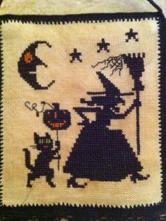 Witch on Prowl Halloween Cross Stitch by LilyOrphanAlien on Etsy