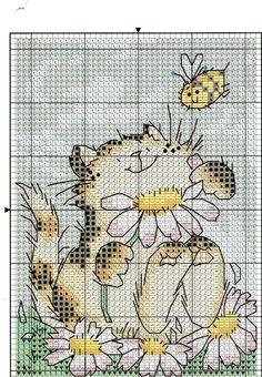 Portal do Ponto Cruz. Margaret Sherry cat and bee Cat Cross Stitches, Cross Stitch Art, Cross Stitch Animals, Cross Stitch Designs, Cross Stitching, Cross Stitch Patterns, Loom Patterns, Cat Embroidery, Cross Stitch Embroidery