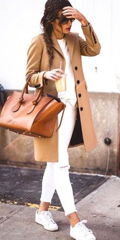 brown and white_coat + bag + sweater + pants + sneakers