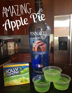 A dessert worth savoring! Mix 1 cup boiling water with green apple gelatin (Jell-O brand makes it, too), then stir in 1 cup of Pinnacle Cinnamon Roll vodka. VOILA! Tailgate/Thanksgiving/party perfection.